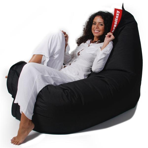 sækkestol Super Kvalitets sækkestol Brasilazy i sort med ægte krøyerkugler sækkestol